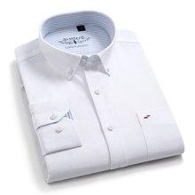 جديد جودة عالية 100% ٪ قطن الرجال أكسفورد قمصان طويلة الأكمام الأعمال الرسمية الذكية قميص غير رسمي الاجتماعية زر أسفل فستان قميص