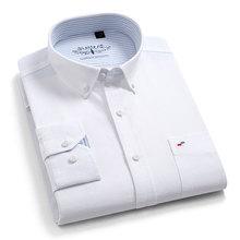 Nowe wysokiej jakości 100% bawełny męskie koszule Oxford z długim rękawem formalna biznesowa inteligentna koszula na co dzień społeczna koszula z guzikami w dół