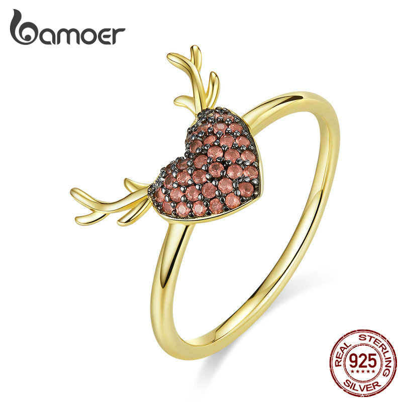 Bamoer 925 Sterling Silver Red Heart Finger Rings For Women Elk Antlers Finger Rings Cute Love Jewelry Bijoux 2019 BSR091
