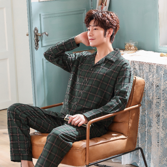 Autumn New Style Simple Casual MEN'S Pajamas Suit Comfortable Fold-down Collar Yarn Dyed Cotton Plaid Long Sleeve Tracksuit
