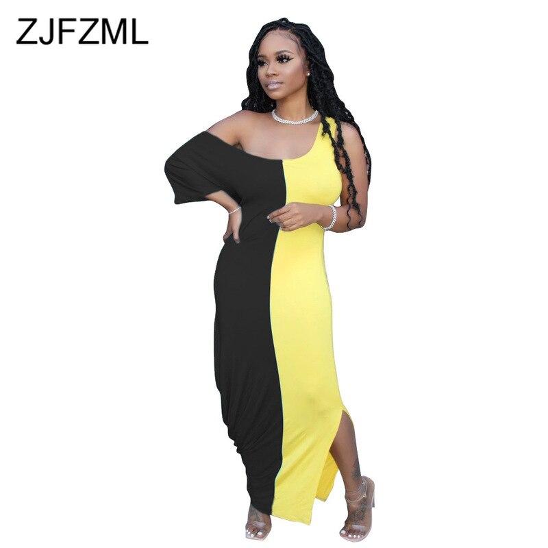 Women Spaghetti Strap Sleeveless Dress Rainbow Tie Dyeing Patchwork Scoop Neck T Shirt Dresses 2019 Casual Loose Swing Maxi Dress