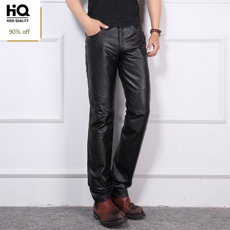 Winter Thick Warm Cargo Down Pants Men Full Length Genuine Leather Motorcycle Trousers Men Biker Punk Pantalon Hombre Plus Size