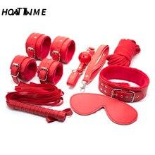 купить 7 pieces/set Bondage Kit Set Hand Cuffs Whip Rope Mask BDSM  Fetish Bondage Restraints Erotic Toys For Couples дешево