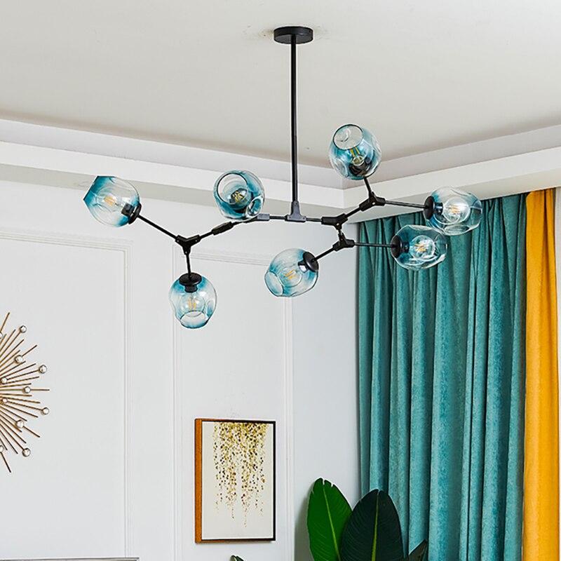 Modern LED Chandelier Lighting Glass Lustre LOFT Dining Bedroom Bedroom Ball chandeliers Kitchen Fixtures Luminaire pendant lamp 2