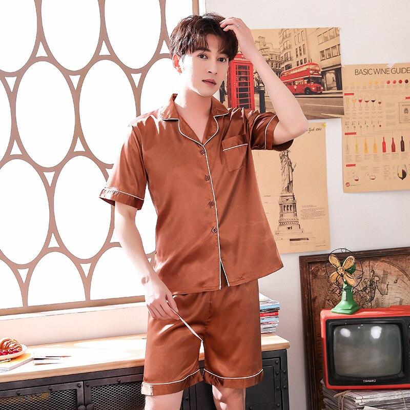 Плюс размер атласная 2шт пижамы костюм мужчины пижамы летние рубашки и шорты случайные интимные белье шелковистой сна комплект пижамы домашняя одежда