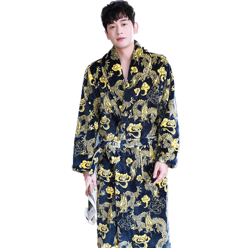 Chinese Dragon Printed Men Bathrobe Winter Flannel Long Robe Thick Warm Sleepwear Full Sleeve Nightgown Male Casual Home Wear