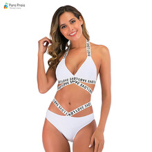 Para Praia Sexy Halter Bikini 2020 Letter Swimsuit Women Bandage Swimwear Thong Bikini Set High Cut Bathing Suit Women Beachwear stylish cut out double halter women s bikini set