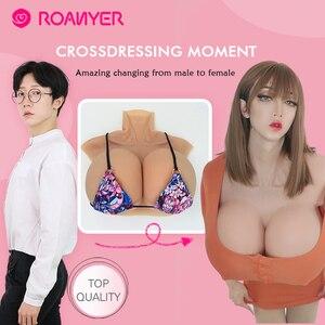 Image 4 - Roanyer gerçekçi sahte göğüsler yapay Crossdresser için silikon meme formu transseksüel transeksüel drag queen B C D E F G H fincan