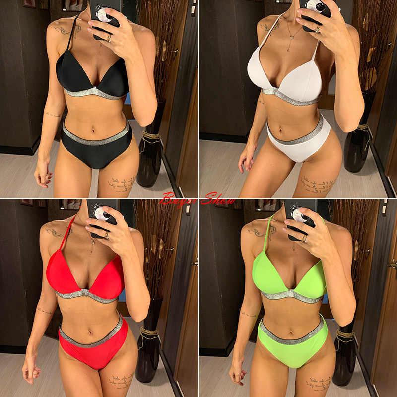 Hitam Putih High Waist Bikini 2019 Baju Renang Wanita Baju Renang Push Up Halter Bikini Set Bather Baju Pantai Wanita
