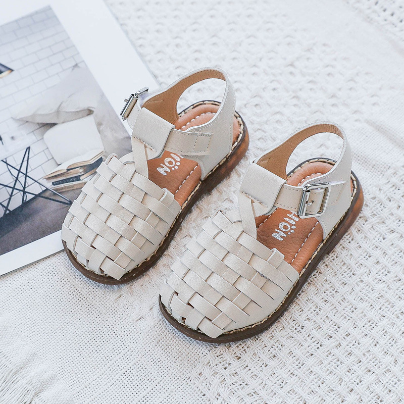 FLARY Brown//White Girls Open Toe Flat Sandals for Toddlers /& Little Kids