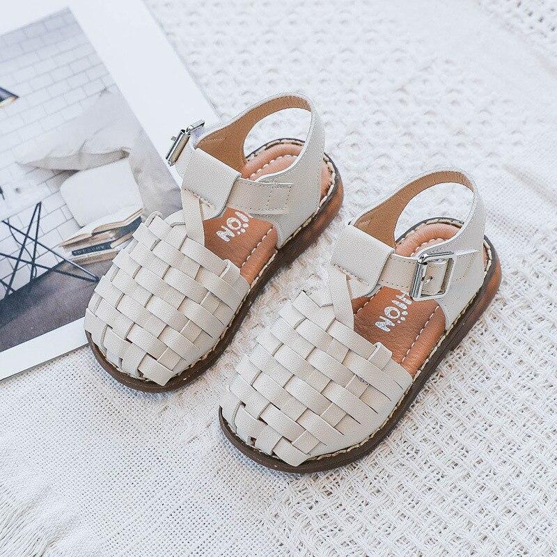 ULKNN Wholesale CHILDREN'S Sandals Korean-style Retro Woven Shoes 2020 Summer Closed-toe Little Girl Princess Shoes Soft Bottom