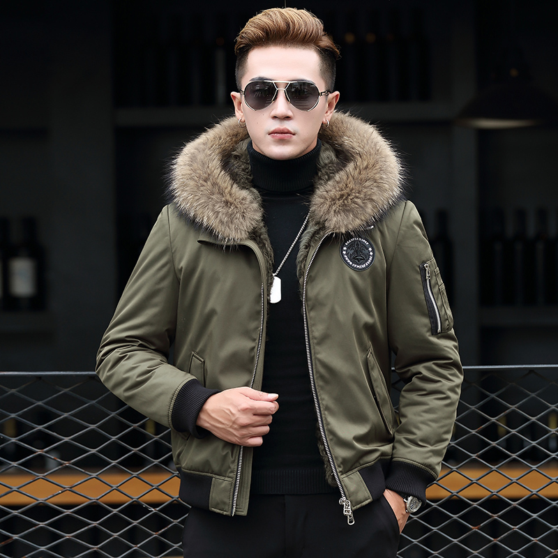 Winter Jacket Natural Rabbit Fur Coat Men Clothes Real Raccoon Fur Collar Warm Parka Men Short Jacket T-89-2303 MY786