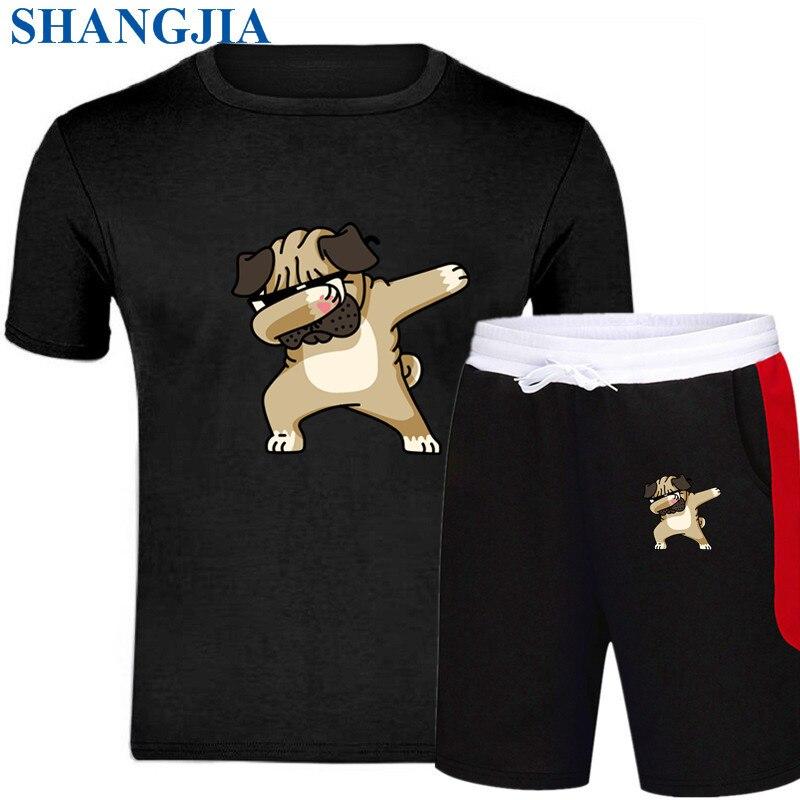 Men Fashion Two Pieces Sets T Shirts+pants Suit Men Summer Tops Tees Fashion Brand Print Tshirt High Quality Sportswears 2 Sets