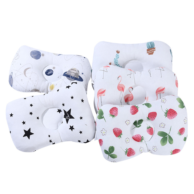 Newborn Stereotype Pillow Comfortable Cartoon Infant Support Prevent Anti Roll Baby Pillow Flat Head Neck Infant Cotton Cushion