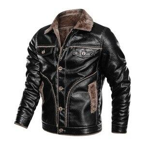 Image 5 - Zima nowa męska kurtka skórzana na co dzień Plus aksamitne PU płaszcz skórzany mężczyźni polar wojskowy motocykl kurtka Retro duży rozmiar M 8XL