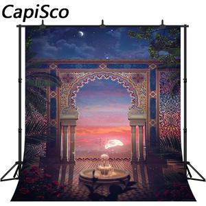 Capisco Photography Backgrounds Fountain Vinyl Arch Column Arabian Flower-Leaves Patio
