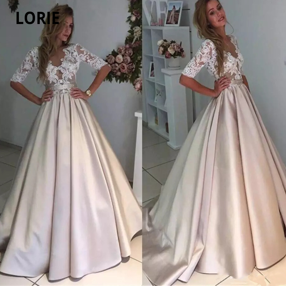 LORIE Half Sleeve Champagne Satin Wedding Dresses Elegant Lace Appliques Boho Bridal Gowns Scoop Beach Party Mariage Romance