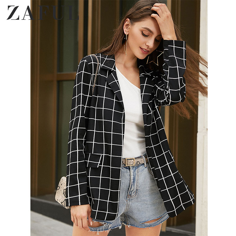 ZAFUL Grid Open Front Longline Blazer Long Sleeves Lapel Collar Loose Wearing Office Lady Autumn Winter Outdoor Tops 2019
