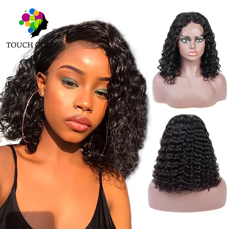 Afro profonde bouclés Bob avant de lacet perruques crépus bouclés perruque brésilienne cheveux humains vague profonde perruque avant courte coupe émoussée perruque Cabelo Humano