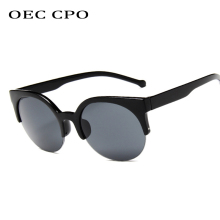 OEC CPO Fashion Semi-Rimless Sunglasses Women Men Brand Designer Vintage Cat Eye Female UV400 O144