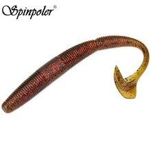 Spinpoler ninja cauda worm finesse worms torção cauda grub worm para texas-rig, carolina-equipamentos, tiros rachados