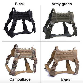 Tactical Service Dog Vest Breathable military dog clothes K9 harness adjustable size Training Hunting Molle Dog tactical Harness 4
