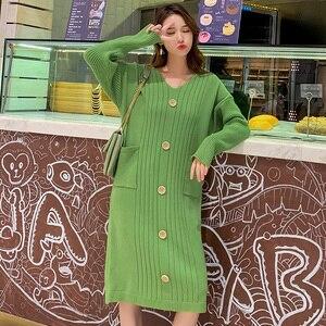 Image 4 - Трикотажное хлопковое винтажное платье с длинным рукавом размера плюс, женское Повседневное платье свитер средней длины на осень и зиму, элегантная одежда 2019, женские платья