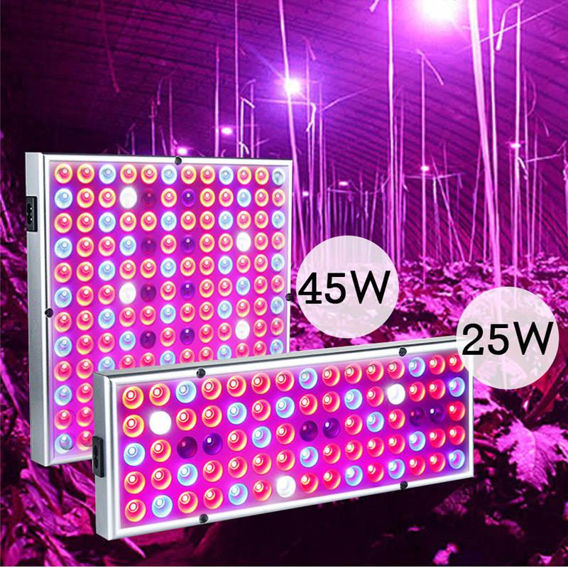 25W/45W LED Plants Grow Panel Light Seeds Cultivo Growing Phyto Lamp UV IR Kit For Indoor Greenhouse Growbox Room Vegetable Tent