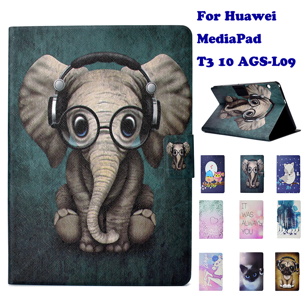 Fashion Stand Flip PU Leather Case For Huawei MediaPad T3 10 AGS-L09 9.6