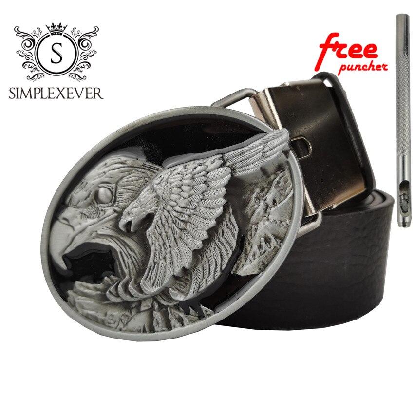 Retro Vintage Classic Men's Belt Buckle Metal Alloy Western Cowboy Flying Eagle Animal Silver Belt Buckle With Belt New Design