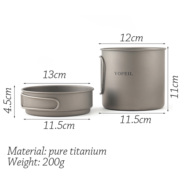 Yofeil camping cookware ultralight titanium frying pan bowl cup outdoor camping cooking set high quality hiking picnic tableware 2