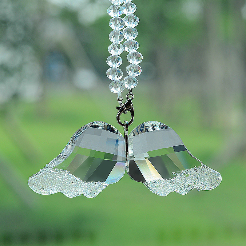 Fashion Crystal Angel Wings Car Pendant Car Rearview Mirror Decoration Hanging Charm Ornaments Auto Interior Accessories Gifts