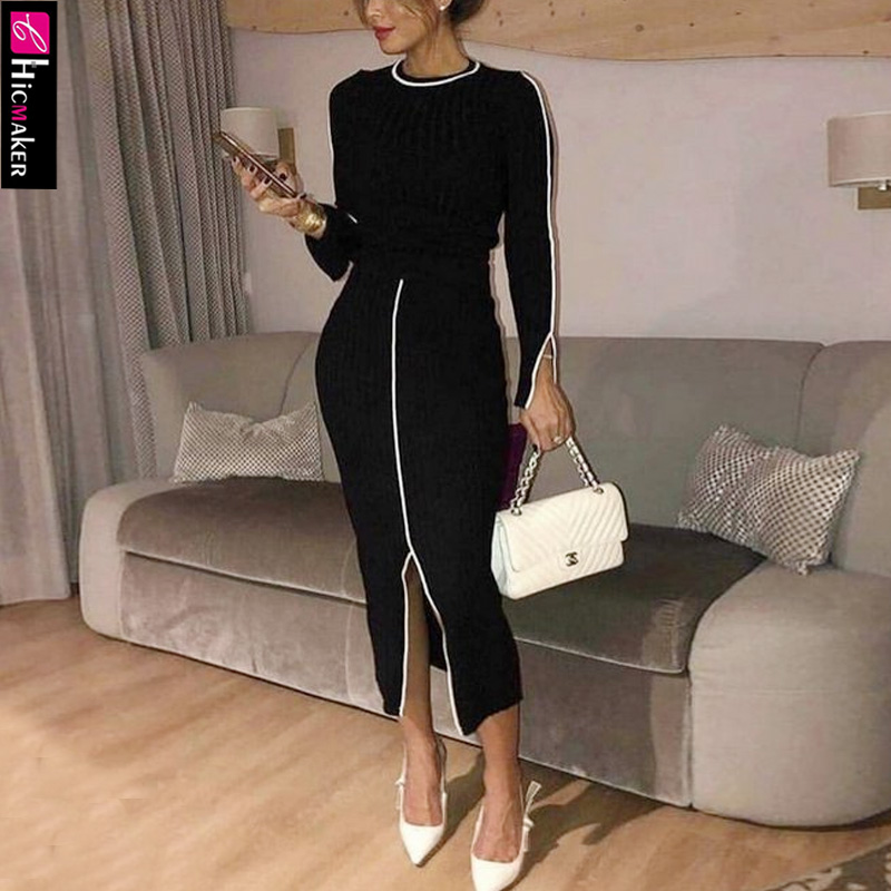 Elegant Minimalist Long Sleeve Top & Skirt Sets Women Two Piece Matching Sets Stretch T-shirt Bodycon Skirt Suit Black Outfits