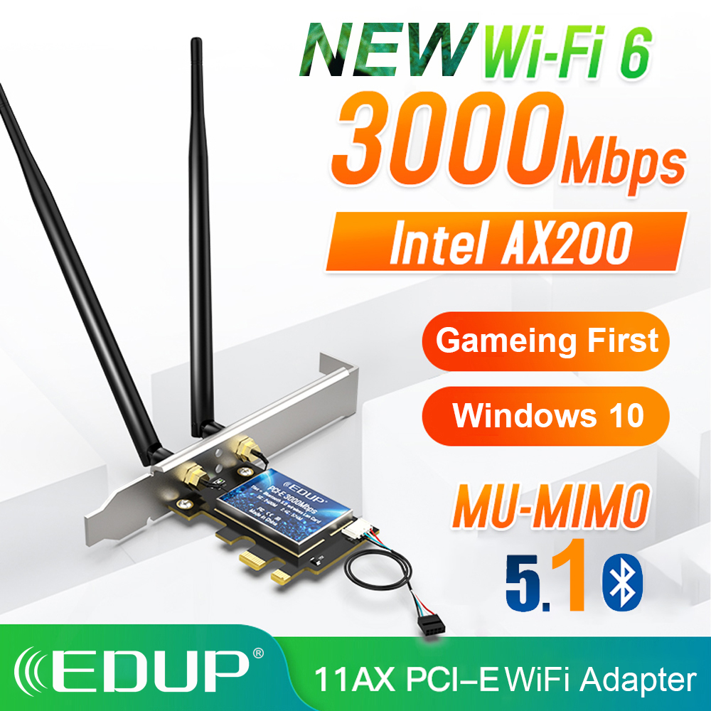 EDUP 3000Mbps WiFi 6 PCI-E Network Card 802 11AX AC Dual Band 2 4G 5GHz Wireless Intel AX 200 PCI Express WiFi Bluetooth Adapter