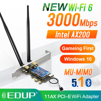 EDUP 3000Mbps WiFi 6 PCI-E ağ kartı 802.11ax/ac çift bant 2.4G/5GHz kablosuz Intel AX 200 PCI Express WiFi Bluetooth 5.1 adaptörü