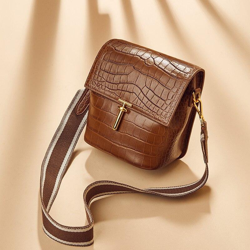 Crocodile Grain Bag 2020 Genuine Leather Woman Oblique Satchel Packet Wide Shoulder Strap Bucket Package Single