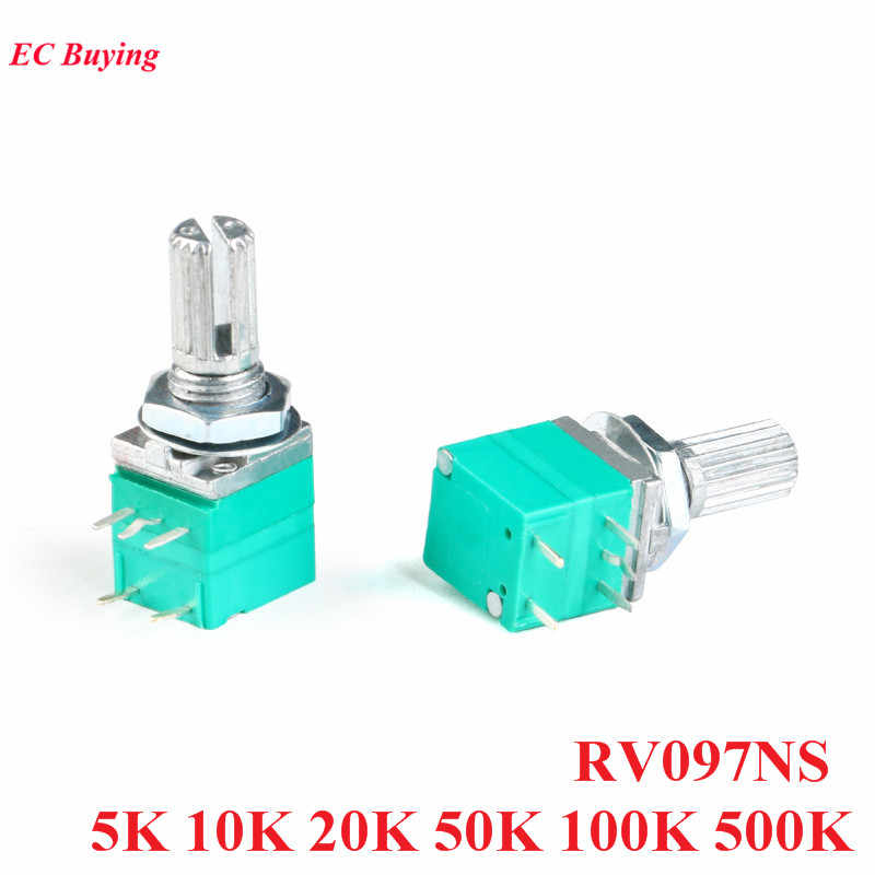 5Pcs RV097NS 5K 10K 20K 50K 100K 500K Potensiometer dengan Switch Audio 5pin menangani Panjang 15Mm Amplifier Penyegelan Potentiometers