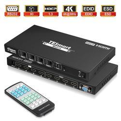 4x4 HDMI Switch Splitter HDMI Matrix 4x4 4 Porte Porta Ingressi e 4 Uscite con RS232 supporta Ultra HD 4Kx2K @ 30 HZ, HDCP1.3, 3D