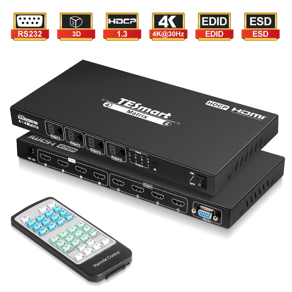4x4 HDMI Switch Splitter HDMI Matrix 4x4 4 Ports Inputs And 4 Port Outputs With RS232 Supports Ultra HD 4Kx2K@30HZ, HDCP1.3, 3D