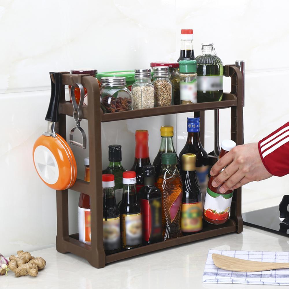 2Tier Kitchen Cabinet Spice Rack Organizer,Standing Rack Kitchen Countertop Storage Organizer Shelf Holder High Quality