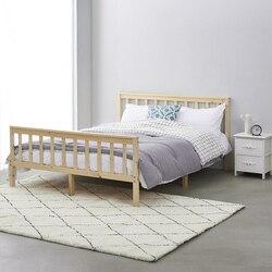 Panana puro sólido de madera cama doble adultos cama de niños 4FT6 cama de madera maciza Blanco/Natural