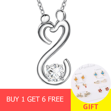 New arrival 925 sterling silver mom and kid hand in hand pendant chain necklace with CZ diy fashion jewelry making women gifts цены