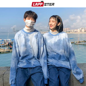 Image 3 - LAPPSTER Paar Übergroßen Streetwear Hoodies 2020 Herbst Männer Harajuku Koreanische Stil Sweatshirts Hoodie Tie Dye Orange Hoodie