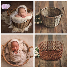 Rattan Basket Newborn Photography Props Baby Photoshoot Studio Posing Basket fotografia Accessoires Infant Photo Shoot Props dvotinst newborn baby photography props crochet knit wool eggshell basket filler fotografia accessories studio shooting props
