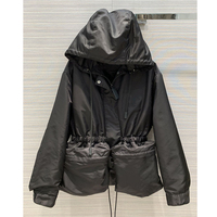 Women spring black color Hooded Light Windbreaker Slim Fit big pockets slim fit Casual Jacket Long Sleeve Coat Clothing Women