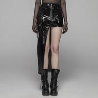 PUNK RACE Women Punk Asymmetric Skirt Bright PU Slim Fit Metal Zipper Personality Handsome Short Skirt
