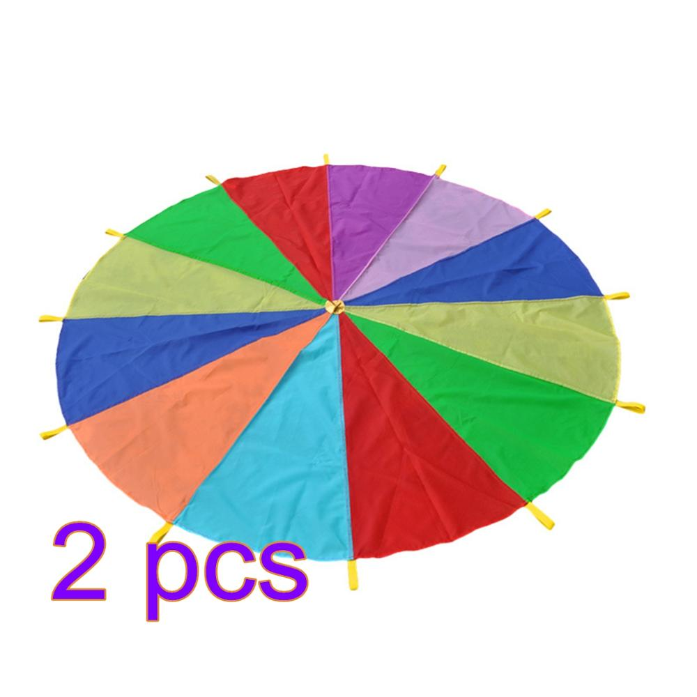 1pcs 3m Family Rainbow Outdoor Play Parachute Early Childhood Training Equipment For Kids Children Sports Toys - Color Random