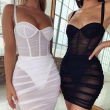 Женское Сетчатое Прозрачное платье Articat, облегающее вечернее платье на тонких бретелях, повседневное короткое Клубное платье на лето 2020Платья    АлиЭкспресс