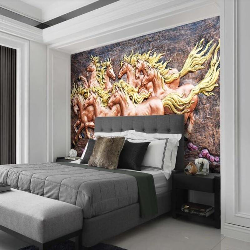 Papel de parede 3D personnalisé, huit chevaux mural pour salon chambre TV fond mur maison papier peint étanche