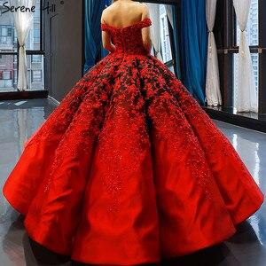 Image 2 - Vestido de novia negro y rojo, hombros descubiertos, Sexy, Vintage, de gama alta, trajes de novia con perlas, foto Real HM66842, hecho a medida, 2020
